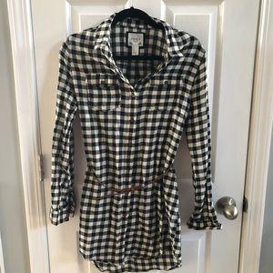 NWOT flannel dress shirt with waist belt 💕